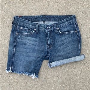 7 for all Mankind-Mid rise,rolledcuff,denim shorts